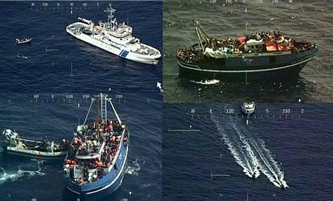 Rajavartiolaitoksen välittämissä kuvissa näkyy vartiolaiva Merikarhun tekemä pelastusoperaatio Välimerellä keskiviikkona. Lähes 300 ihmistä pelastettiin pienestä kalastusaluksesta.
