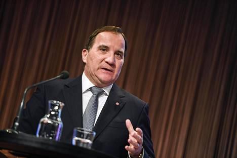 Ruotsin pääministeri Stefan Löfven viime vuoden tammikuussa Sälenissä.