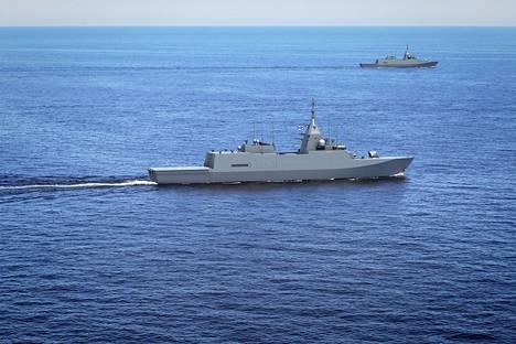 Havainnekuva uusista sotalaivoista.