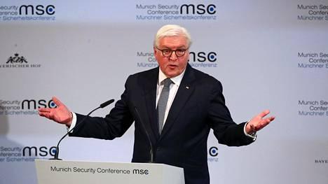Saksan liittopresidentti Frank-Walter Steinmeir piti perjantaina avauspuheen Münchenin turvallisuuskonferenssissa.