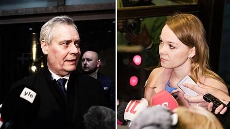 Sdp:n puheenjohtaja Antti Rinne ja keskustan puheenjohtaja Katri Kulmuni kommentoivat hallitustilannetta tahoillaan omien puoluehallitusten kokousten jälkeen maanantai-iltana.