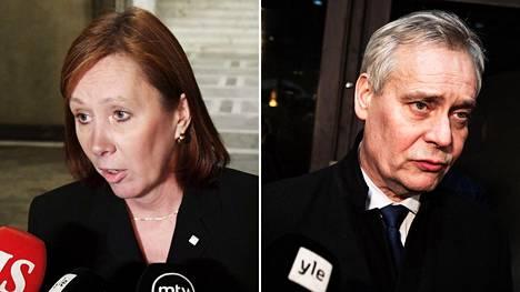 Omistajaohjausministeri Sirpa Paatero ja pääministeri Antti Rinne.