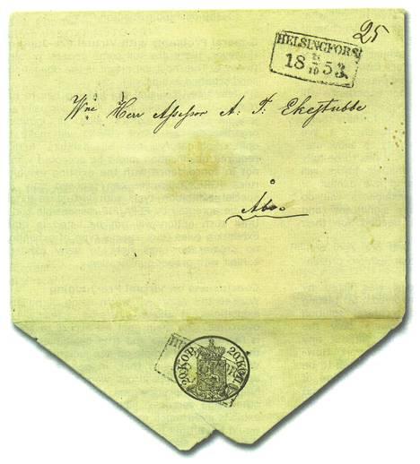 Painettu ovaalimerkki tekee vuonna 1850 käyttöön otetusta kuorityypistä arvokkaan. Hinta-arvio on noin 100 000 euroa.