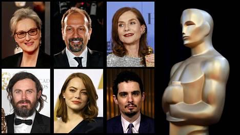Oscarit jaetaan sunnuntaina. Puheenaiheita ovat aiheuttamassa muun muassa Meryl Streep (ylhäällä vas.), iranilaisohjaaja Asghar Farhadi, Isabelle Huppert, Casey Affleck, Emma Stone sekä ohjaaja Damien Chazelle.