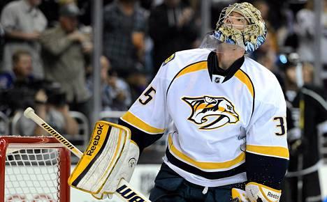Maalivahti Pekka Rinne on Nashvillen tärkein pelaaja.