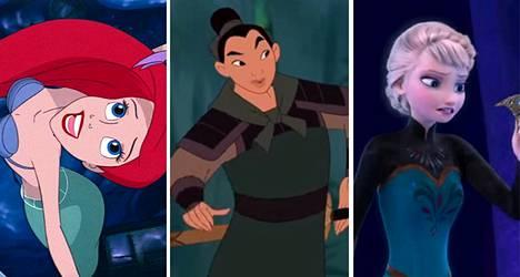 Ariel (vas.), Mulan ja Elsa ovat Disney-prinsessoja.