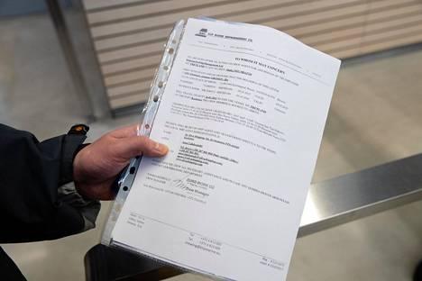 Ilja Grumovin asiakirja maahantulon tarkoituksesta.