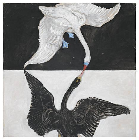 Joutsen-sarjassa on 24 osaa. Sarja muuttuu esittävästä abstraktiksi. Kuvassa Joutsen numero 1 (1915).