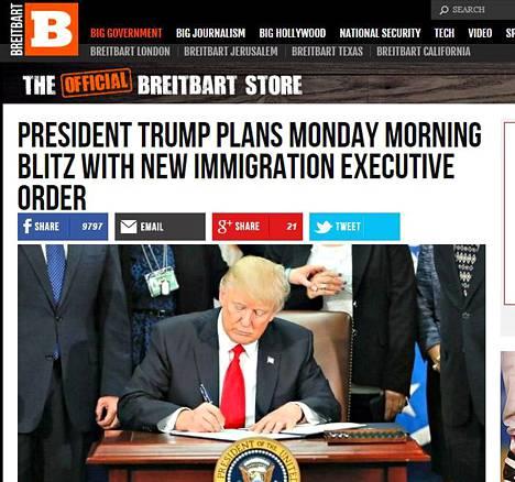 Breitbartin etusivu maanantaina 6. maaliskuuta 2017.