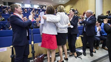Maarit Feldt-Ranta Sdp:n ylimääräisessä puoluevaltuuston kokouksessa Jyväskylässä syyskuussa 2017. Feldt-Ranta kilpaili puolueen presidenttiehdokkuudesta Sirpa Paateron ja Tuula Haataisen kanssa. Presidentinvaaliehdokkaksi nousi Haatainen.