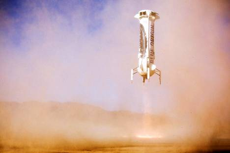 Blue Origin New Shepard -raketti laskeutui maahan Texasissa Van Hornin koekentällä tammikuussa 2016.