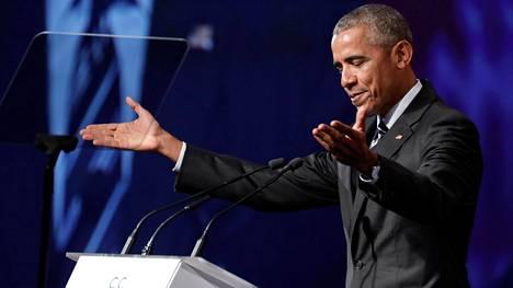 Barack Obama vieraili puhumassa Montrealin kauppakamarille kesäkuussa 2017.