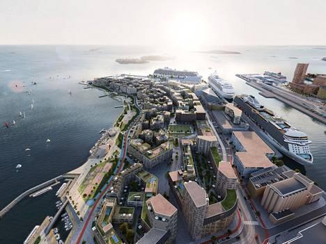 Havainnekuva hahmottelee Helsingin Hernesaareen suunniteltavaa uutta asuinaluetta. Rakennuttajat saavat näillä näkymin itse päättää, kuinka paljon pysäköintipaikkoja alueelle rakennetaan. Esimerkiksi Tuukka Saarimaa uskoo, että sääntelyn purkaminen saattaa lisätä rakentamista ja sitä kautta mahdollisesti laskea asumisen hintaa Helsingissä.