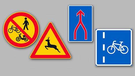 Jalankulun, pyöräilyn ja mopoilun kielto, kaurisvaroitus, ajokaistojen yhdistyminen eli vetoketjuperiaate ja pyöräkaista ovat kesäkuun alusta lähtien virallisia liikennemerkkejä.