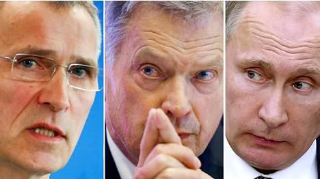 Naton pääsihteeri Jens Stoltenberg, Suomen presidentti Sauli Niinistö ja Venäjän presidentti Vladimir Putin.