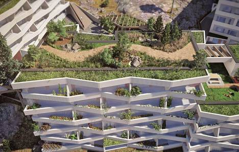 Havainnekuva Kurkimoisioon suunniteltujen talojen kattoterassista.