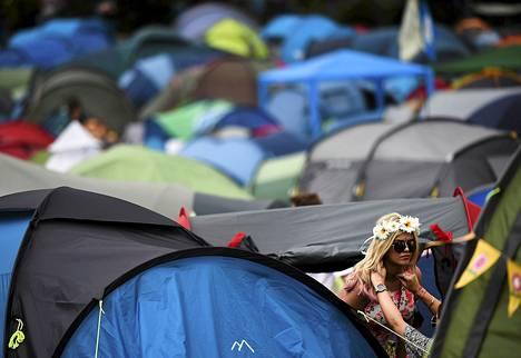 Glastonburyn musiikkifestivaaleille tänä viikonloppuna osallistuvat ovat pystyttäneet telttoja tapahtumapaikalle Worthy Farmille Britannian Somersetiin.