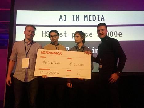 HS:n hackathonin voitti Bulletin.ai, jonka jäsenet ovat Arttu Laitinen, Elias Tattari, Matias Kaskimies ja Tuomas Jokioja.