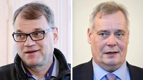 Keskustan puheenjohtaja Juha Sipilä (vas.) ja Sdp:n puheenjohtaja Antti Rinne.