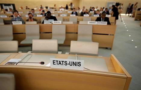 Yhdysvaltojen edustajan paikka oli tyhjänä YK:n ihmisoikeusneuvoston kokouksessa Genevessä kesäkuussa 2018.