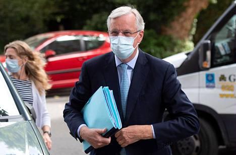 EU:n pääneuvottelija Michel Barnier torstaina Lontoossa.