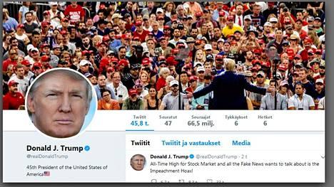 Donald Trumpin yksityisen Twitter-tilin etusivu näytti maanantaina tällaiselta.