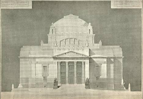 Gustaf Nyströmin ehdotus Säätytalon laajentamisesta Eduskuntataloksi vuodelta 1907.