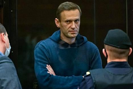 Oppositiojohtaja Aleksei Navalnyi oikeudenkäynnissä Moskovassa tiistaina helmikuun 2. päivä.