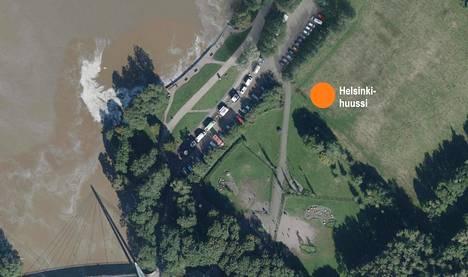 Kesällä rakennettavan Pornaistenniemen Helsinki-huussin sijainti kartalla.