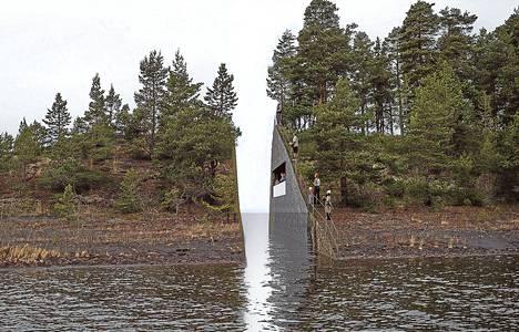 Havainnekuvasta selviää, että muistomerkki halkaisisi niemen kahtia.