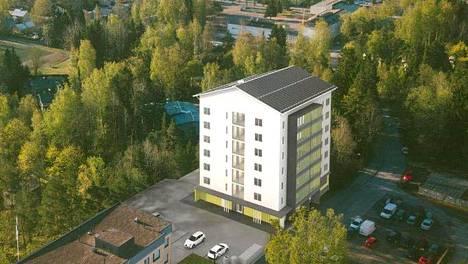 Tältä näyttää havainnekuvassa asunto-osuuskunta Silkin kerrostalo Järvenpään keskustassa.