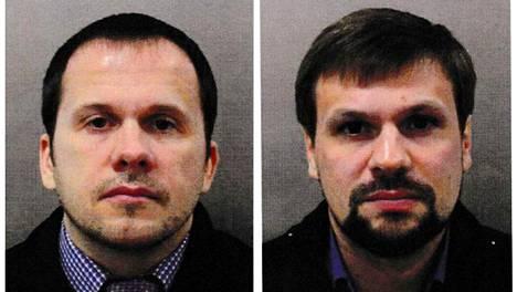 Venäläiset tiedustelu-upseerit Aleksandr Miškin ja Anatoli Tšepiga Britannian poliisin syyskuussa 2018 julkaisemissa passikuvissa.
