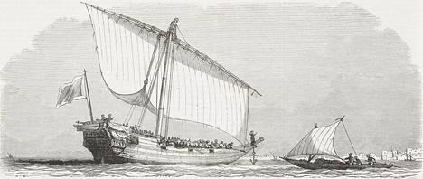 Clotilda oli samanlainen orjalaiva kuin kuvassa vasemmalla oleva alus. Kuva on julkaistu L'Illustration-julkaisussa vuonna 1849.