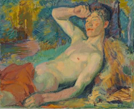 Heräävä fauni (1914) huokuu Enckellin myöhäistuotannolle tyypillistä homoeroottista energiaa.