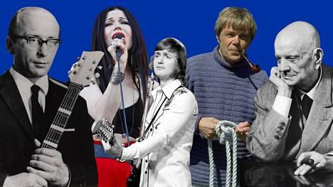 Muun muassa Unto Monosen (vas.), Jenni Vartiaisen, Jukka Kuoppamäen, Lasse Mårtensonin ja Jean Sibeliuksen laulut ovat ehdolla EU-laulukirjaan.