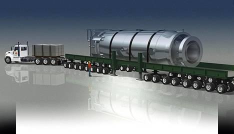 Yhdysvaltalaisen Nuscale Power -yhtiön havainnepiirros näyttää, miten tehtaalla valmistettu reaktori siirtyy tulevaisuudessa voimalaitokselle rekan kyydissä.
