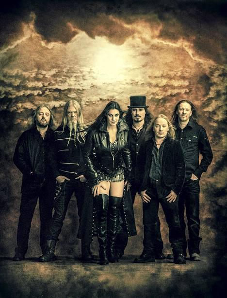 The current line-up of Nightwish: Troy Donockley, Marco Hietala, Floor Jansen, Tuomas Holopainen, Emppu Vuorinen and Kai Hahto.