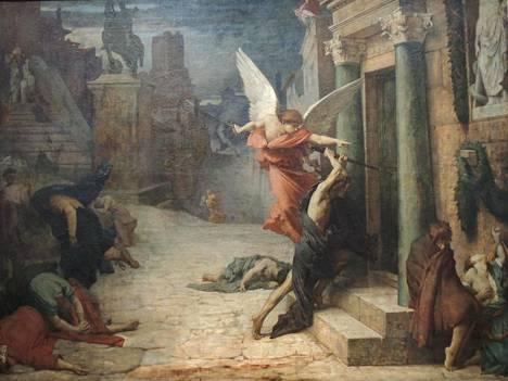 Jules Elie Delaunay (1828–1891) maalasi Rutto Roomassa -maalauksensa vuonna 1869. Siinä kaksi enkeliä kylvää kuolemaa: kustakin talosta kuolee enkelin oveen lyömien iskujen määrän verran asukkaita. Taustalla nousee Marcus Aureliuksen ratsastajapatsas.