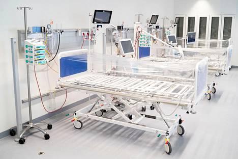 Uusi koronaviruspotilaille avattava osasto Tanskan kansallisessa sairaalassa Rigshospitaletissa Kööpenhaminassa.