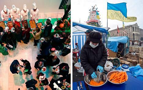 Vasemmalla kuvassa lounastilaisuus Maailman talousfoorumissa Sveitsin Davosissa keskiviikkona. Oikealla vapaaehtoiset laittoivat mielenosoittajille ruokaa Kiovassa joulukuun lopulla.