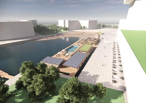 Havainnekuva Jätkäsaaren Ahdinaltaaseen suunnitellusta kelluvasta meriuimalasta. Taustalla uusi uimaranta.