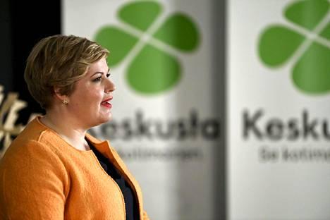 Keskustan puheenjohtaja Annika Saarikko puhui keskustan kuntavaalistartissa Helsingissä lauantaina 6. helmikuuta.