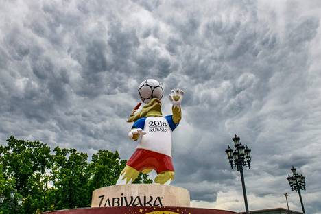 MM-kisojen virallinen maskotti Zabivaka näyttää tältä.