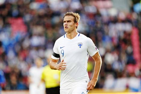 Eero Markkanen avasi maalitilinsä maajoukkueessa Qatarissa Ruotsia vastaan. Kuva vuodelta 2017.