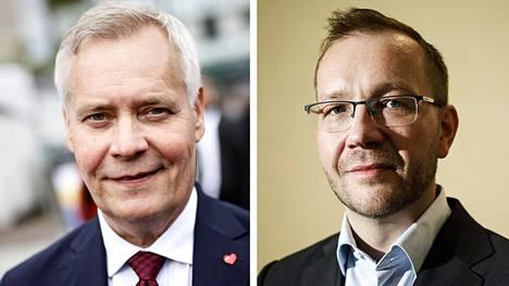 Antti Rinne (vas.) ja Juho Romakkaniemi.