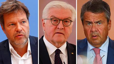 Muun muassa vihreiden puheenjohtaja Robert Habeckin (vas.), liittopresidentti Frank-Walter Steinmeierin ja SPD:n entisen puoluejohtaja Sigmar Gabrielin hakkeroituja tietoja on julkaistu.