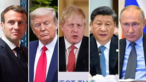 Ranskan Emmanuel Macron (vas.), Yhdysvaltojen Donald Trump, Britannian Boris Johnson, Kiinan Xi Jinping ja Venäjän Vladimir Putin.
