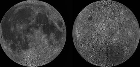 Kuu-ukko vasemmalla ja reikäjuusto oikealla. Kuun puolet ovat hyvin erilaisia. Perimmäistä syytä ei tiedetty näihin päiviin.