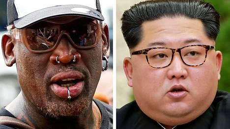 Dennis Rodman (vas.) ja Kim Jong-un.