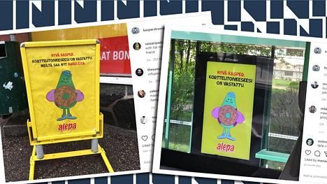 Alepan Kasperin korttelitoive -kampanjan mainoksiin on voinut törmätä niin myymälöiden edustoilla, hyllyillä tai tietyillä raitiovaunupysäkeillä.